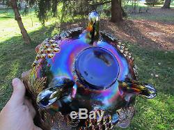 Northwood GRAPE & CABLE ANTIQUE CARNIVAL ART GLASS FTD FRUIT BOWLBLUEGORGEOUS