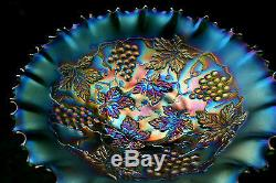 Northwood GRAPE & CABLE ANTIQUE CARNIVAL ART GLASS PCE BOWLEMERALD GREENWOW