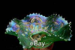 Northwood ICE GREEN ANTIQUE CARNIVAL ART GLASS RUFFLED BOWLRARE ICE GREEN