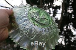 Northwood PEACOCKS ANTIQUE CARNIVAL ART GLASS PCE BOWLRARE ICE GREENGORGEOUS