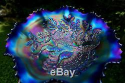 Northwood PEACOCKS ANTIQUE CARNIVAL ART GLASS RUFFLED BOWLELECTRIC BLUEHOT