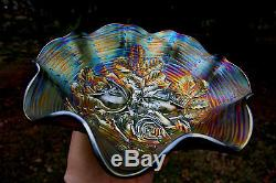 Northwood ROSE SHOW ANTIQUE CARNIVAL ART GLASS RUFFLED BOWLRARE GREENSTUNNING