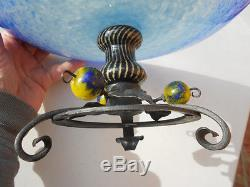 Old Schneider France Blue Art Glass Bowl on Wrought Iron Stand w Fruit 11 3/4