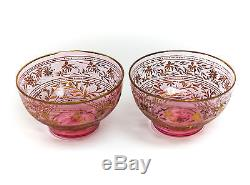 Pair Bohemian Cranberry Art Glass Intaglio Bowls c1900 Hand Painted Gold Silver