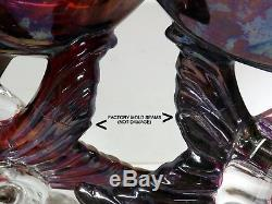 Pair HEISEY Art Glass Ruby Stained Animal Figurine Dolphin Fish Bowl Vase Signed