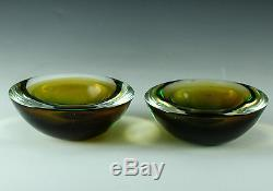 Pair Italian Art Glass Bowls Murano Encased Glass green and gold color interplay