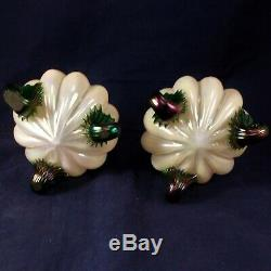 Pair Kralik Art Glass Rose Bowls Opalescent or Pearlescent Glass Antique c 1890