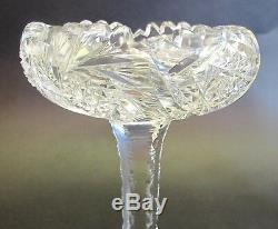 Pair of AMERICAN BRILLIANT Era Art Glass Crystal Compotes c. 1890 No Chips