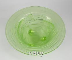 Phoenix Lime Green Art Glass Footed Bowl Raised Goldfish Design Hand Polished