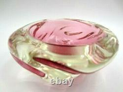 Pink Archimede Seguso sommerso art glass jelly mould bowl Murano 50s UV GLOW