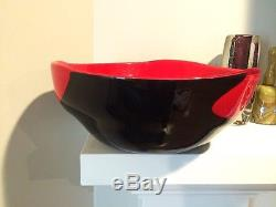 Published Very Large Red and Black Murano Glass Bowl by Venini