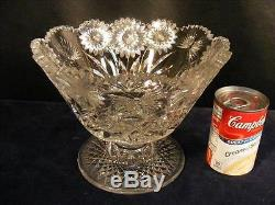 Rare American Brilliant Cut Glass Pairpoint Footed Bowl Butterfly & Daisy