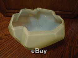 RARE Consolidated Art Glass RUBA ROMBIC Jade Green Opalescent 8 Cupped Bowl