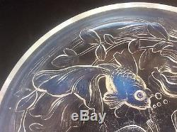 RARE High bowl opalescent Art Deco Glass signed VERLYS France EXOTIC GOLD FISH