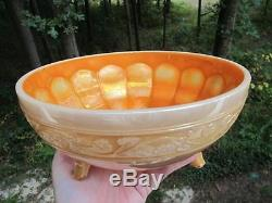 RARE! MARIGOLD on MILK GLASS! IMPERIAL CARNIVAL GLASS ROSE NUT BOWL ANTIQUE ART