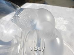 REALLY ELEGANT LALIQUE French CRYSTAL Detail OWL Footed BOWL Conversation piece