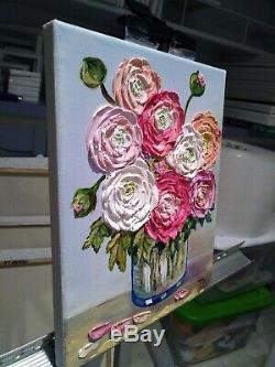 Ranunculus in a Glass Bowl Originall Oil Textured Painting