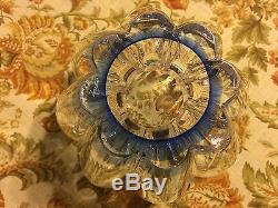 Rare Art Glass MARKED Bowl Heavy Hand Blue Purple Opalescent Great Gift