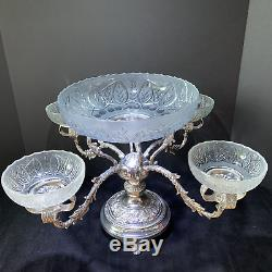 Rare English Etched Cut Art Glass & Silver Plated Epergne Serving Vase Bowl Set