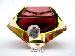 Rare! Glowing Uranium Space Age Murano Faceted Art Glass Geode Bowl Copper Gold