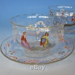 Rare Lobmeyr Bohemian Rococo Enameled Portrait Ribbed Glass 6 Finger Bowls/Liner