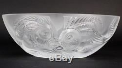Rare Signed Lalique French Crystal KUTA Poisson Glass Centerpiece Bowl NR SMS