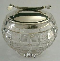 Rare Solid Sterling Silver Cut Glass Sugar Bowl Mechanical Tongs 1930 Art Deco