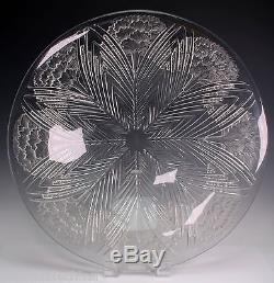 Rene Lalique Opalescent Glass'Oeillets' Coupe Large 14 Wide Bowl Rare Piece