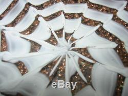 SALE! Heavy Vintage MURANO SPIDER WEB BOWL/ASHTRAY Lots of Gold, White Webs, 7