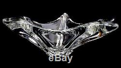 SIGNED DAUM FRANCE Star Centerpiece Crystal Bowl StarFish Art Glass Mid Century