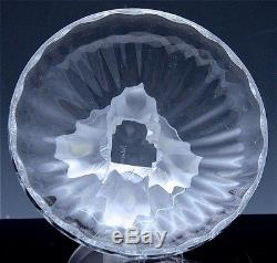 SIGNED LALIQUE FRANCE FRENCH ART GLASS NOGENT BIRD FIGURAL NUT CANDY DISH BOWL