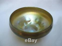Signed Lct Gold Favrile Iridescent Glass Threaded Punts Finger Nut Bowl Dish