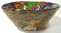 SPECTACULAR COLORS HAND BLOWN GLASS ART BOWL RED BLUE GOLD PURPLE BY DIRWOOD