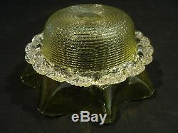 STEVENS & WILLIAMS VASELINE ART GLASS THREADED BOWL in SILVERPLATED STAND