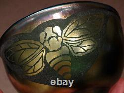 STUNNING! Orme ORIENT & FLUME Studio Art Glass CAMEO ETCHED BUMBLEBEE Bowl