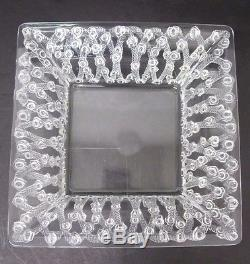 STUNNING c. 1939 LALIQUE ROSES FRENCH ART GLASS SQUARE BOWL SIGNED