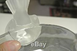SUPER RARE LARGE HEAVY 12 Lalique CRYSTAL SPARROWS BIRDS FIGURINES BOWL SUPER
