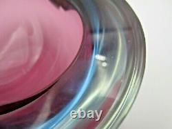 Seguso flat top triangle geode bowl dish red & blue Sommerso murano art glass