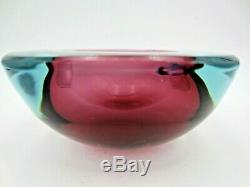 Seguso square geode pink & ice blue flat top art glass bowl murano Sommerso