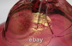 Signed Cranberry Pink And Gold Foil Inclusion Handcrafted Art Glass Bowl