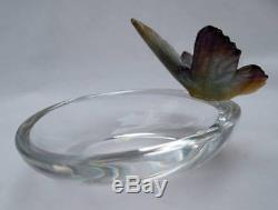 Signed Daum France Pate De Verre Art Glass Butterfly Figurine Ring Dish Bowl