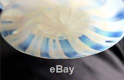 Signed L. C. Tiffany Pastel Blue Opalescent Footed Art Glass Bowl, Rolled Rim