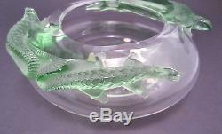 Signed LALIQUE BAMAKO Green LIZARD Clear Crystal BOWL