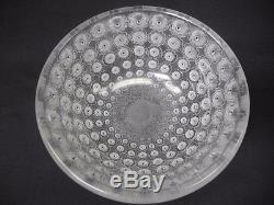 Signed LALIQUE France Fine Crystal Frosted Round 10Nemours Bowl