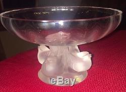 Signed LALIQUE French Crystal Nogent Bowl EXCELLENT! Sparrow Chick