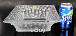 Signed Lalique Crystal Carree Roses Flower Art Glass Centerpiece Dish Fruit Bowl