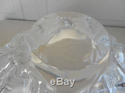 Signed Lalique France Frosted Crystal Champs Elysees Art Glass LARGE Center Bowl