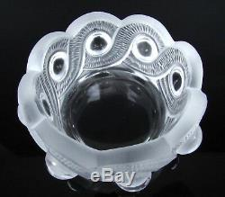 Signed Lalique France Round Crystal Art Frosted Clear Glass Pearl Circle Bowl