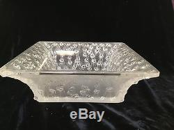 Signed Lalique France art glass frosted crystal Rose Coupecira square bowl 9.5