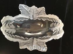 Signed Lalique France art glass frosted crystal bowl Compiegne 7.5 w oak leafs